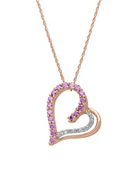 Lord And Taylor 14Kt. Rose Gold Diamond And Amethyst Heart Pendant Necklace Pink