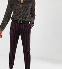 Heart And Dagger Slim Fit Cropped Pleated Smart Trouser In Navy Red Stripe