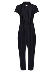 Stella Mccartney Aio Short Sleeved Tapered Silk Jumpsuit Navy