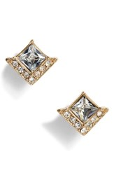 Vince Camuto Crystal Pave Square Stud Earrings Gold Crystal
