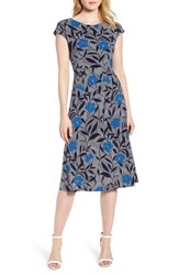 Chaus Pacific Blooms Stretch Jersey Ruched Dress Evening Navy