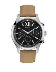 Guess High Flyer Roman Numeral Leather Watch Tan