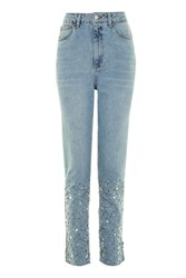 Topshop Moto Gemstone Hem Mom Jeans Blue