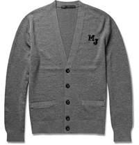 Marc By Marc Jacobs Embroidered Merino Wool Cardigan Gray