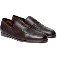 Harry's Of London Harrys Edward Textured Leather Penny Loafers Chocolate