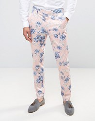 Asos Wedding Skinny Smart Trousers In In Blush Floral Print Pink