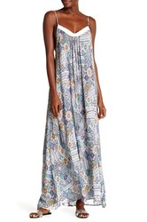 Red Carter Braided Scoop Neck Long Dress White
