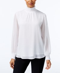 Ny Collection Metallic Detail Turtleneck Blouse Ivory