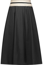 Brunello Cucinelli Cotton Blend Midi Skirt Black