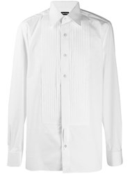 Tom Ford Pleated Bib Shirt White