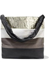Rick Owens Woman Jumbo Balloon Suede Vinyl Metallic And Textured Leather Tote Multicolor