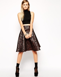 Asos Midi Skirt In Metallic Jacquard Bronze