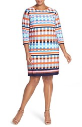 Plus Size Women's Eliza J Print Jersey Three Quarter Sleeve Shift Dress