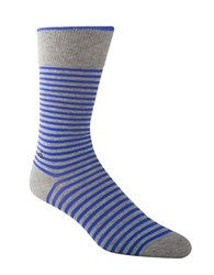 Calvin Klein Striped Cotton Blend Crew Socks Grey