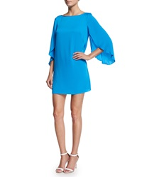 Milly Butterfly Sleeve Stretch Silk Dress Blue