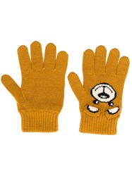 Moschino Knitted Teddy Gloves Brown