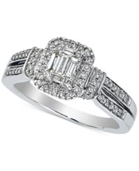 Macy's Diamond Cluster Engagement Ring 1 2 Ct. T.W. In 14K White Gold