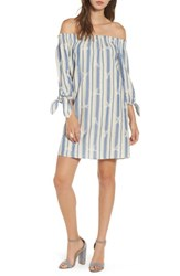 Everly Women's Everyly Tie Sleeve Off The Shoulder Shift Dress Denim Blue