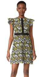 Cynthia Rowley Lace Flutter Sleeve Dress Citron Multi
