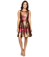 Rsvp Millington Metallic Brocade Dress Red Multi Women's Dress