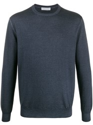 Cruciani Slim Fit Knitted Jumper Blue