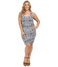 Tart Plus Size Jan Dress Stamped Feathers Women's Dress Gray