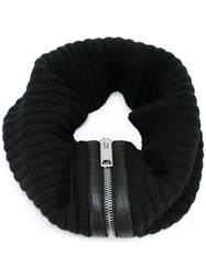 Les Hommes Ribbed Zip Detail Scarf Black
