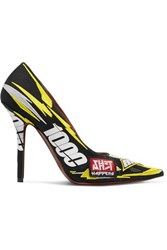 Vetements Race Printed Embroidered Canvas Pumps Yellow