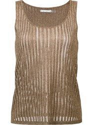 Alice Olivia Metallic Round Neck Tank