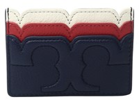 Tory Burch Scallop T Slim Card Case Royal Navy Cherry Apple New Ivory Credit Card Wallet Blue