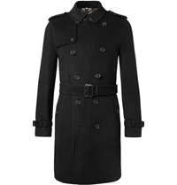 Burberry Cashmere And Virgin Wool Blend Trench Coat Black