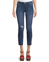 Dex Madison Low Rise Distressed Cropped Jeans Blue