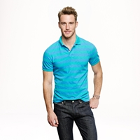 J.Crew Textured Cotton Polo In Bright Surf Stripe