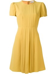 Red Valentino Pleated Placket Flared Dress Yellow And Orange