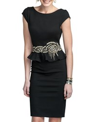 Glamour By Terani Couture Embroidered Peplum Dress Black