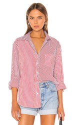 Solid And Striped X Re Done Oxford Button Down In Red. Red Stripe