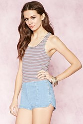 Forever 21 Stripe Ribbed Tank Cream Red