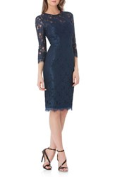 Js Collections Women's Lace Sheath Dress Navy