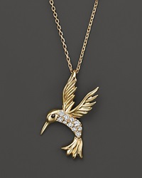 Bloomingdale's Diamond Hummingbird Pendant Necklace In 14K Yellow Gold .09 Ct. T.W.