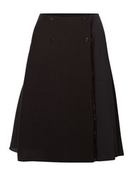 Sportmax Code A Line Front Button Up Skirt With Split Black