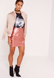 Missguided Petite Faux Leather Metallic Mini Skirt Pink Rose