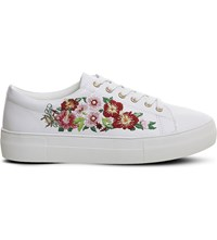 Office Flare Floral Embroidered Faux Leather Trainers White