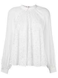 Giamba Lace Sheer Longsleeved Blouse White