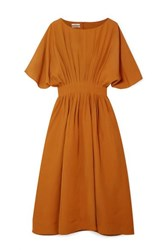 Co Pleated Broadcloth Midi Dress Camel