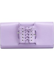 Perrin Paris Lace Up Glove Clutch Pink And Purple