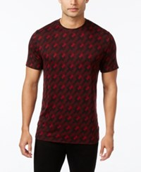 Alfani Men's Jacquard Geometric T Shirt Only At Macy's Red Velvet