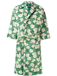 Rochas Belted Floral Coat Green