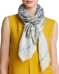 Fraas Scrolls And Stripes Oblong Scarf Gray Multi