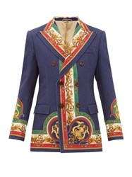 Gucci Mermaid Print Double Breasted Cotton Twill Jacket Multi