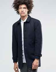 Minimum Jenkins Wool Overcoat With Collar And Quilted Lining Dark Navy